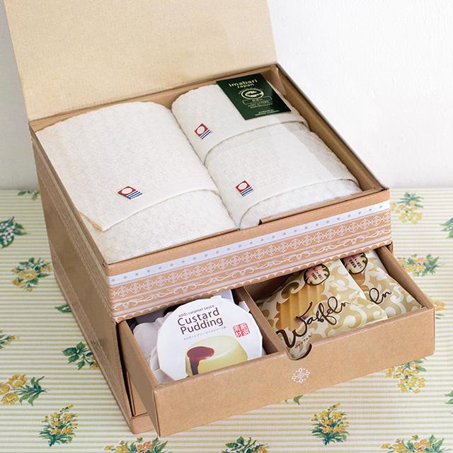 長﨑堂 洋菓子&今治無漂白コットンタオル3枚セット+カタログ式ギフト サンクス オリーブグリーン サブ画像1