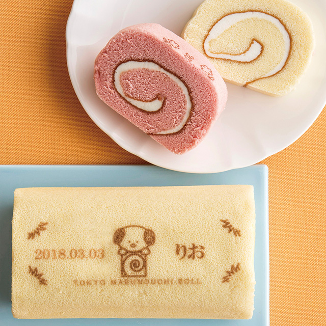 東京丸の内ロール 名入れロール2本&焼菓子セット プレーン&ストロベリー