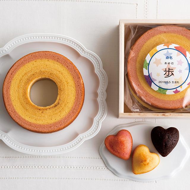 名入れバームクーヘン&ハートケーキ5個(桐箱入り) サブ画像1