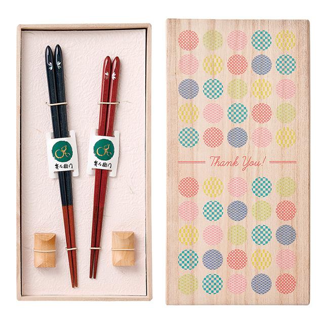 夫婦箸セット 月のしずく桜(木箱入) サブ画像1