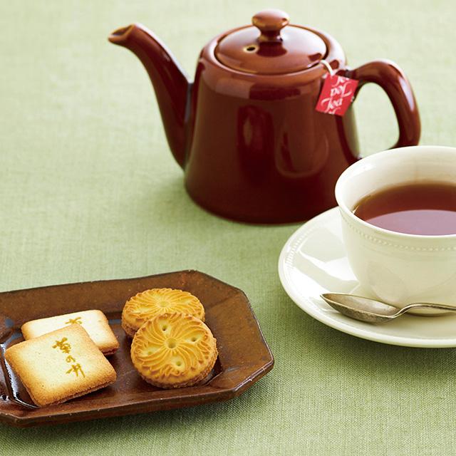 菊乃井 焼菓子8個&紅茶詰合せ+今治謹製 千歳はんかち アイボリー サブ画像1