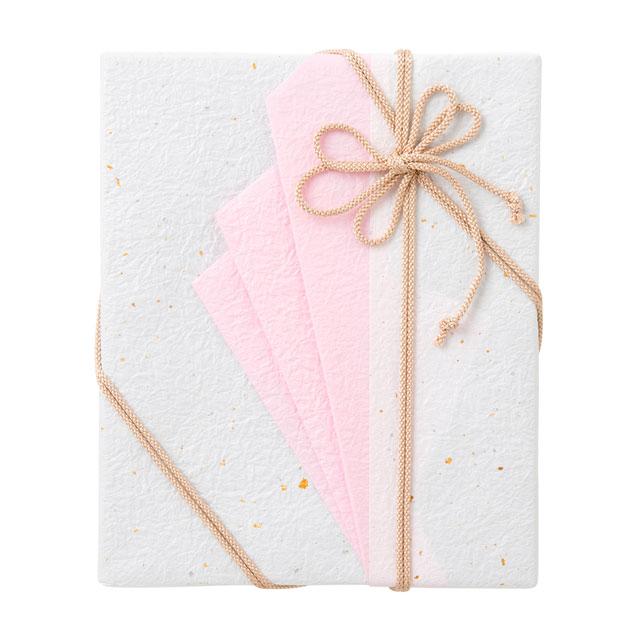 カタログ式ギフト プレゼンテージブライダル カルテット+有料ラッピング(ピンクの扇と飾紐)