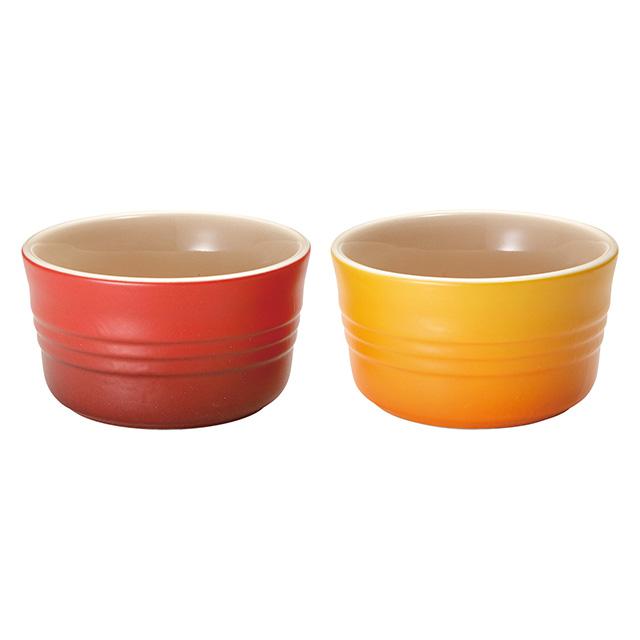 LE CREUSET ラムカン(2個入り)マットレッド/マットオレンジ