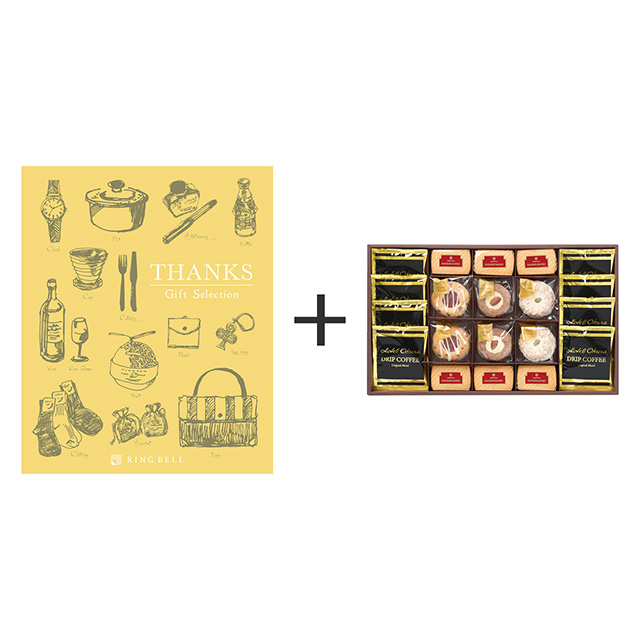 ホテルオークラ コーヒー&スイーツセット+カタログ式ギフト サンクス ミモザイエロー メイン画像
