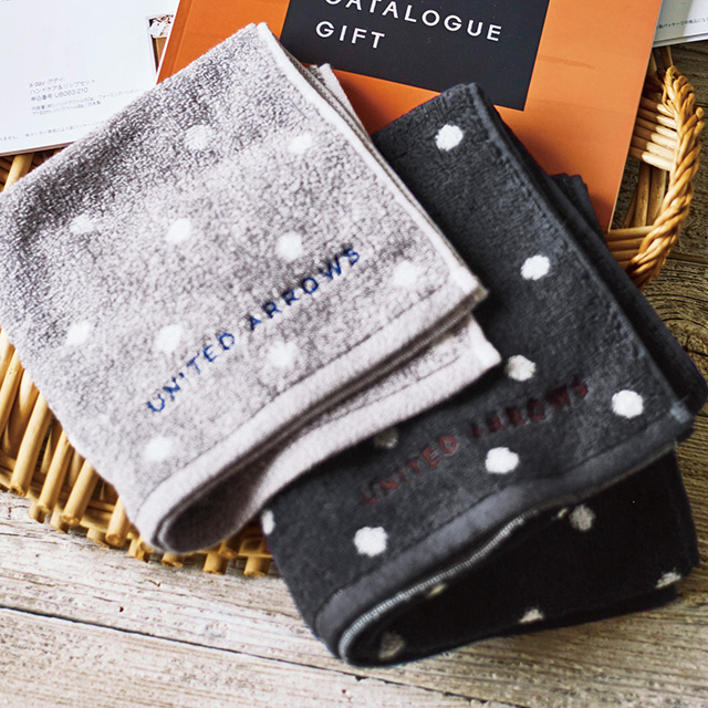 UNITED ARROWS スモールドットゲストタオル2枚セット グレー