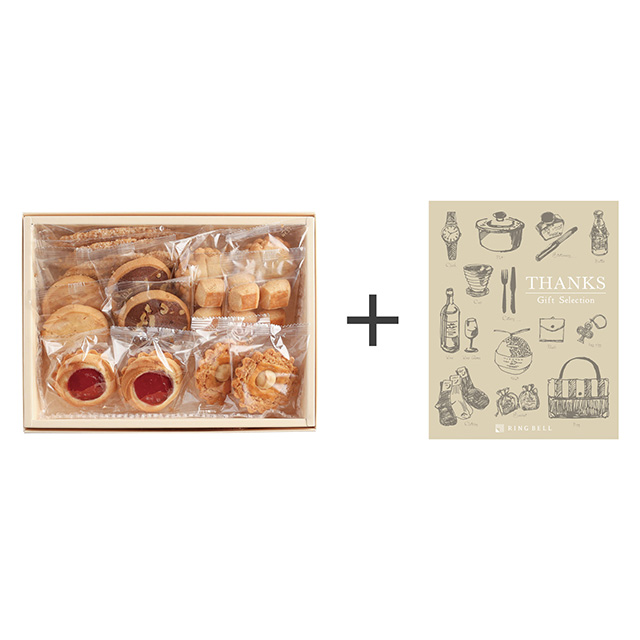 銀座ウエスト 銀座ウエスト リーフパイ&ドライケーキ詰合せ+カタログ式ギフト サンクス シルクブロンズ