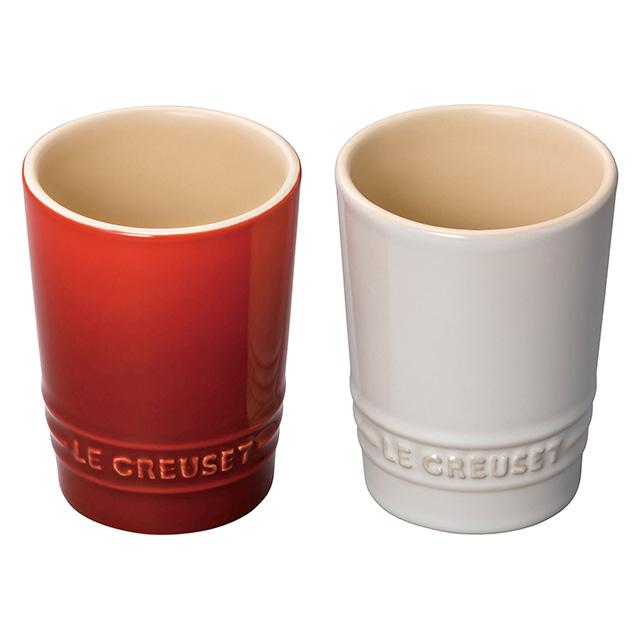 LE CREUSET ペア・ショート・タンブラー チェリーレッド&ホワイトラスター