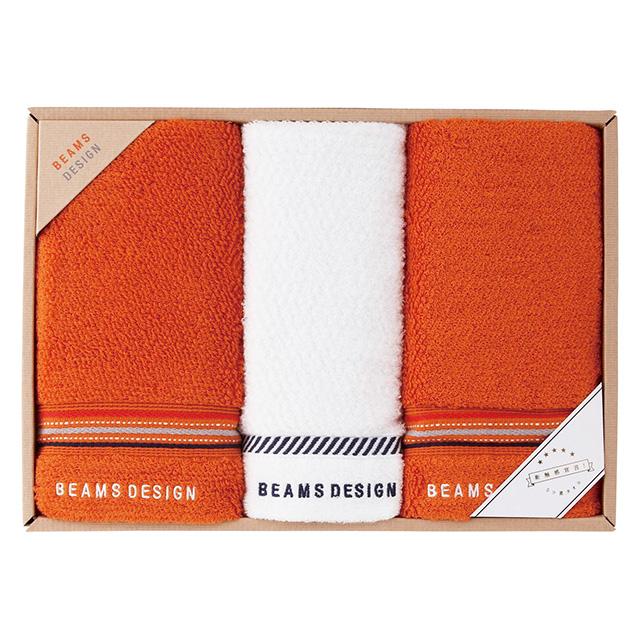 BEAMS DESIGN ラインドットタオル3枚セット オレンジ