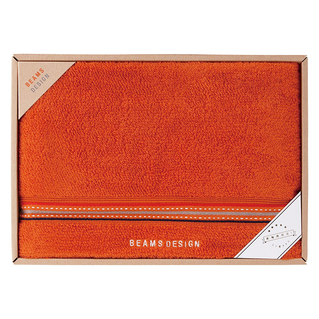 BEAMS DESIGN ラインドットバスタオル オレンジ