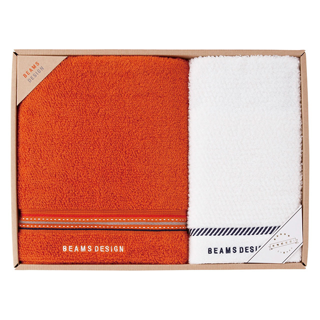 BEAMS DESIGN ラインドットタオル2枚セット オレンジ