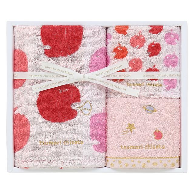 tsumori chisato BATHROOM ハッピーりんごまん タオル3枚セット レッド