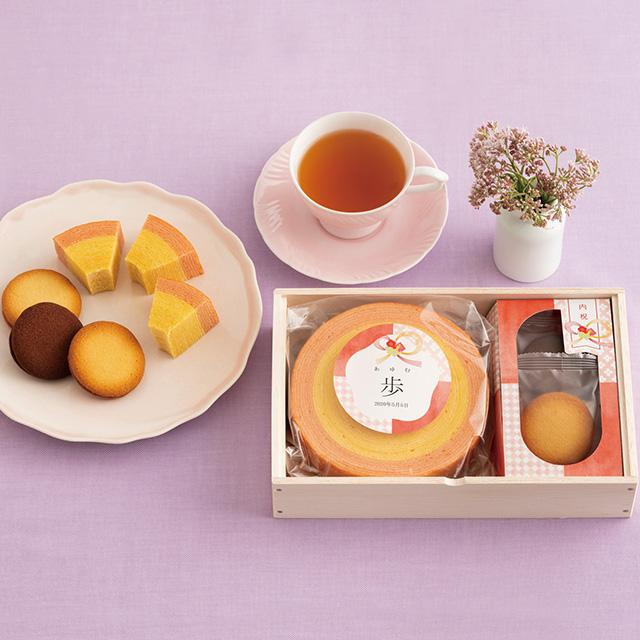 名入れバウムクーヘン&サンドクッキー3個(桐箱入り) メイン画像
