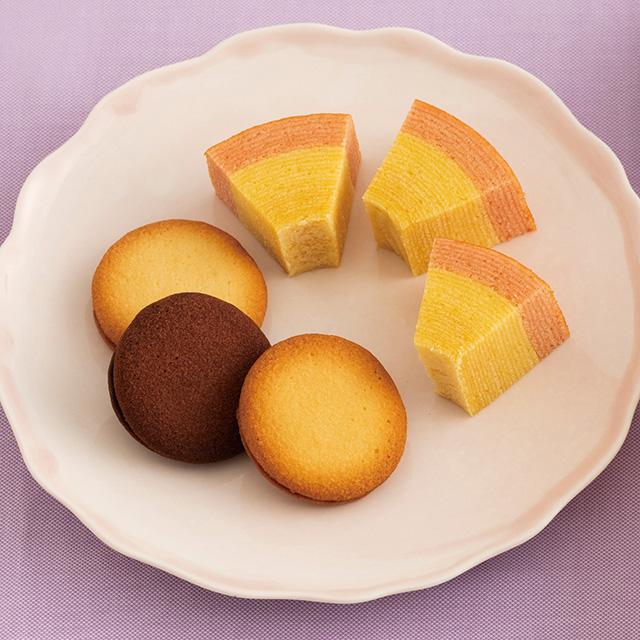 名入れバウムクーヘン&サンドクッキー6個(桐箱入り) メイン画像