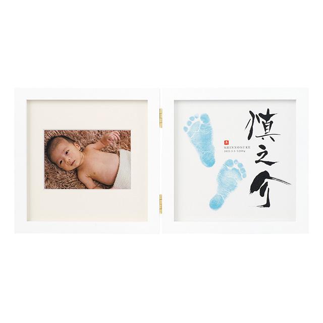 命名フレーム兼フォトフレームダブル(名前・足型・写真) ホワイト(フレーム)×ブルー(足型) メイン画像