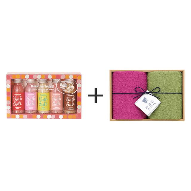 アマイワナ アマイワナ バスソルトアソートボックス ピンク+おぼろ日本の伝統色 浴用タオル2枚セット