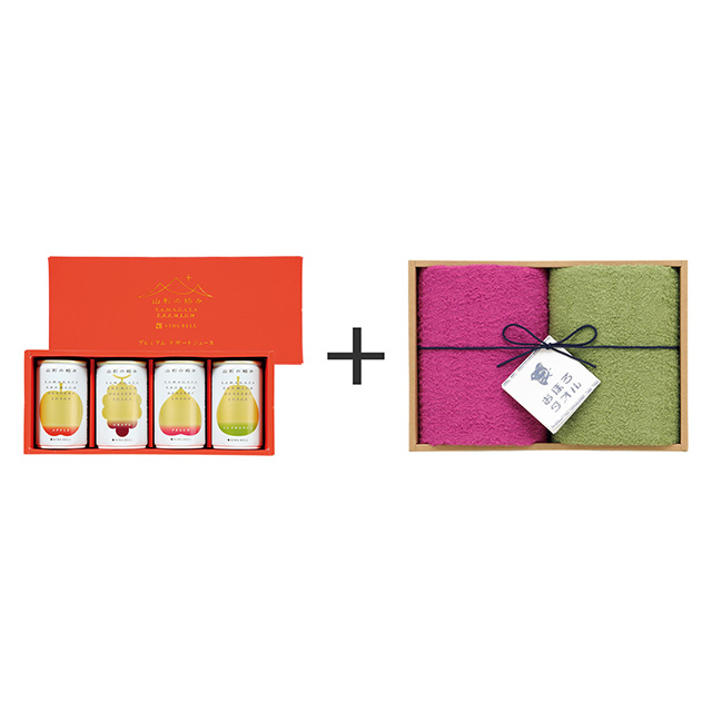 山形の極み 山形の極み プレミアムデザートジュース4本入+おぼろ日本の伝統色 浴用タオル2枚セット
