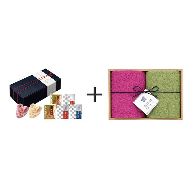ことほぐ 紅白うどんセット+おぼろ日本の伝統色 浴用タオル2枚セット メイン画像