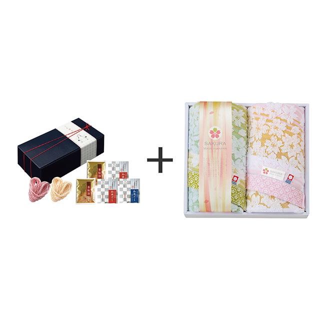 ことほぐ 紅白うどんセット+しまなみ 匠の彩 白桜 フェイスタオル2枚セット メイン画像