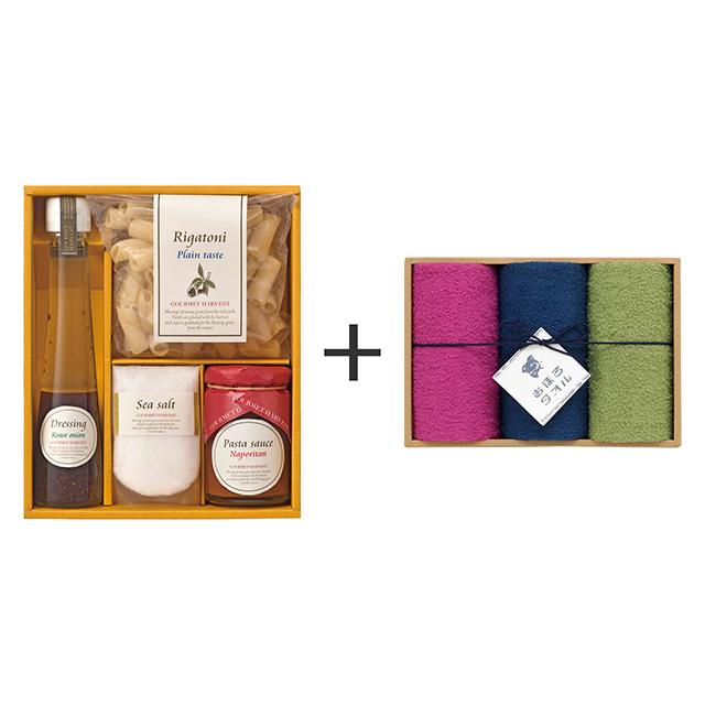 グルメハーベスト パスタ・ソースギフト+おぼろ日本の伝統色 浴用タオル3枚セット