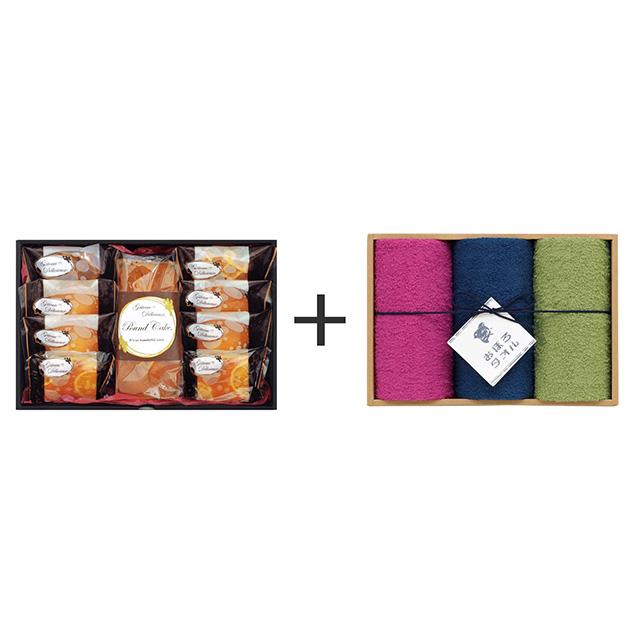 ガトー・デリシュー ガトー・デリシュー 焼菓子9個詰合せ+おぼろ日本の伝統色 浴用タオル3枚セット
