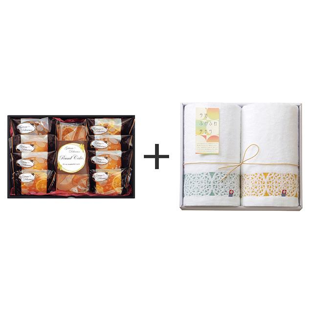 ガトー・デリシュー ガトー・デリシュー 焼菓子9個詰合せ+今治ふわふわ手まり フェイスタオル2枚セット