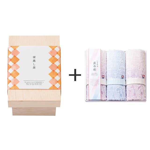 山田園 深蒸し茶ティーバッグ(茶箱入)+しまなみ匠の彩 花つぼみフェイスタオル3枚セット メイン画像