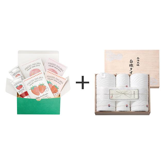 フレッシュデリーナ フレッシュデリーナ バスギフト 苺と桃+今治謹製 白織タオル タオル4枚セット
