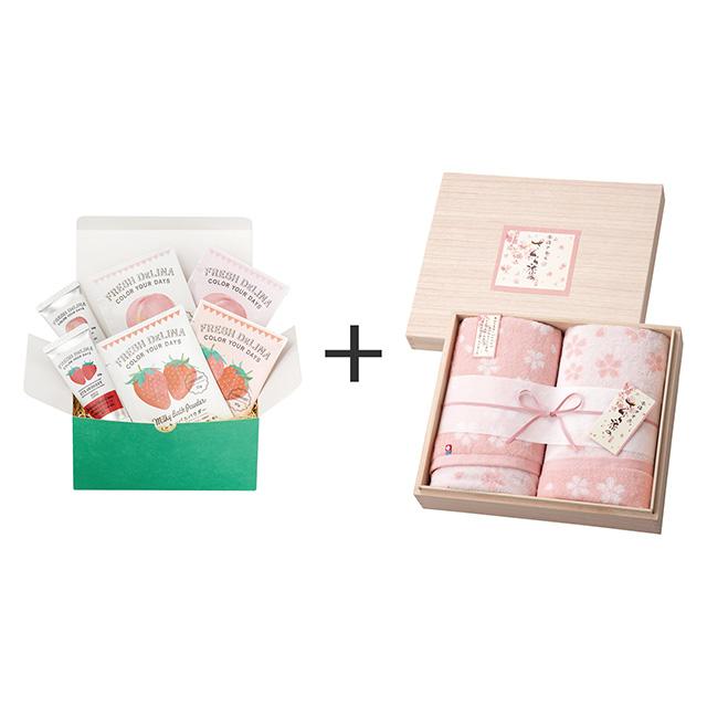 フレッシュデリーナ フレッシュデリーナ バスギフト 苺と桃+木箱入りさくら染め バスタオル2枚セット