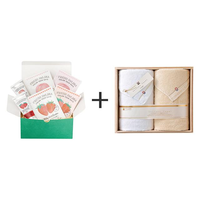 フレッシュデリーナ フレッシュデリーナ バスギフト 苺と桃+今治謹製 至福タオル バスタオル2枚セット