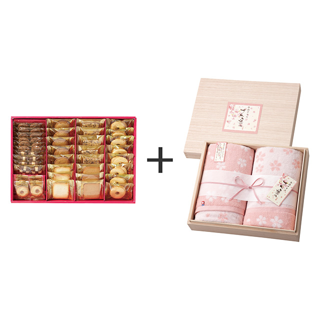 ラミ・デュ・ヴァン・エノ ラミ・デュ・ヴァン・エノ 焼菓子8種38袋詰合せ+木箱入りさくら染め バスタオル2枚セット