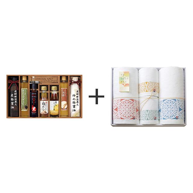 美食ファクトリー こだわり調味料8種ギフト+今治ふわふわ手まり タオル4枚セット メイン画像