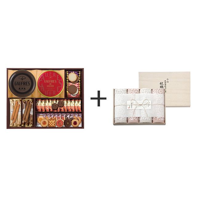 神戸風月堂 神戸風月堂 ゴーフル・焼菓子4種セット+今治謹製 紋織タオル バスタオル4枚セット