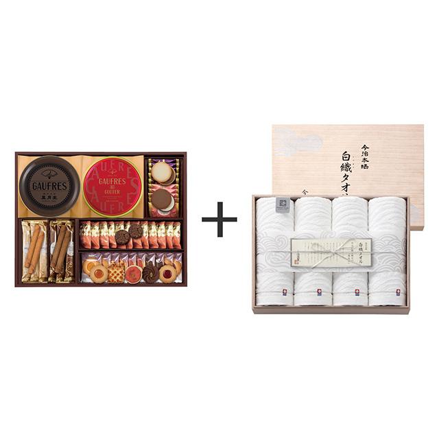 神戸風月堂 神戸風月堂 ゴーフル・焼菓子4種セット+今治謹製 白織タオル バスタオル4枚セット