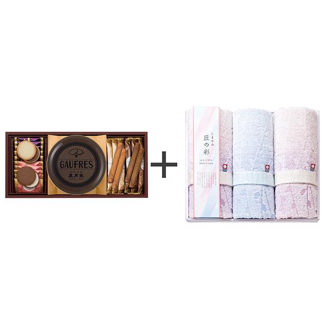 神戸風月堂 ゴーフル・焼菓子2種セット+しまなみ匠の彩 花つぼみ フェイスタオル3枚セット メイン画像