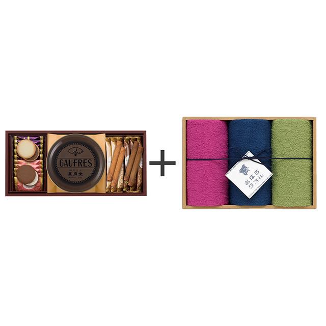 神戸風月堂 ゴーフル・焼菓子2種セット+おぼろ日本の伝統色 浴用タオル3枚セット メイン画像