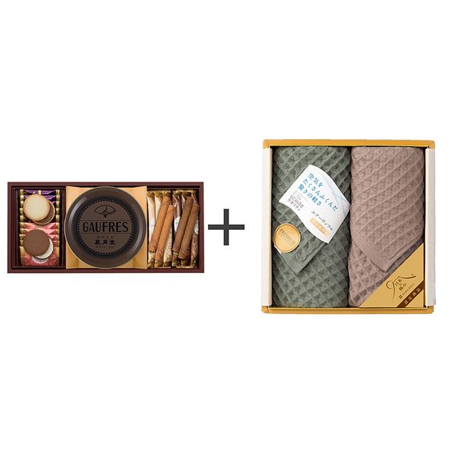 神戸風月堂 ゴーフル・焼菓子2種セット+エアーワッフル フェイスタオル2枚セット メイン画像