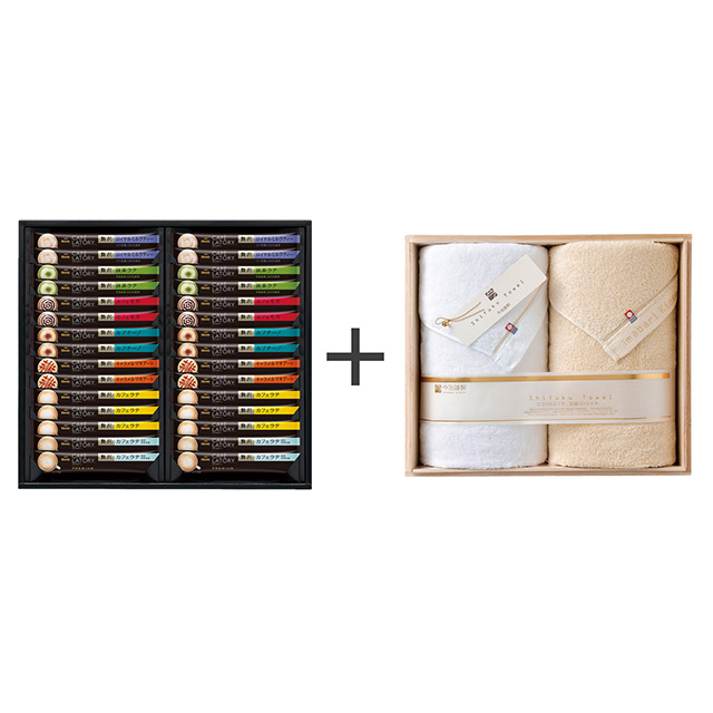 AGF ブレンディ カフェラトリースティックプレミアムギフト+今治謹製 至福タオル バスタオル2枚セット メイン画像