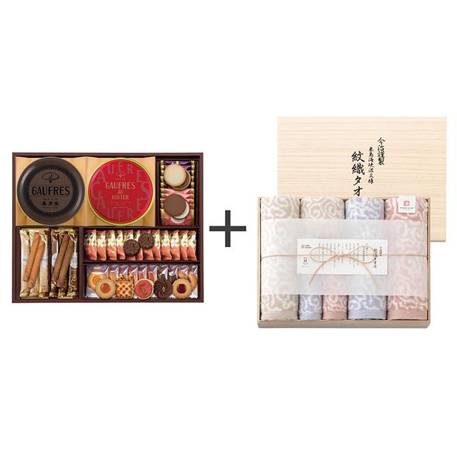 神戸風月堂 ゴーフル・焼菓子4種セット+今治謹製 紋織タオル タオル6枚セット メイン画像