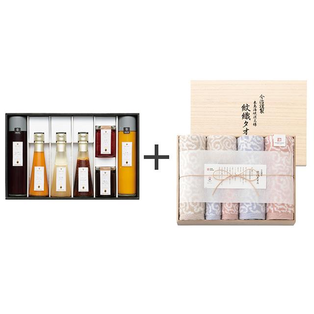 セゾンファクトリー ドレッシング・ジャム・ドリンク7種詰合せ+今治謹製 紋織タオル タオル6枚セット メイン画像