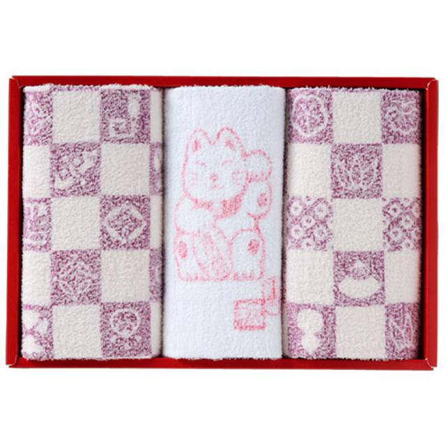 縁起物おぼろタオル 浴用タオル3枚セット メイン画像