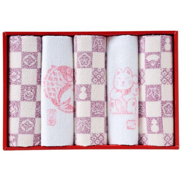 縁起物おぼろタオル 浴用タオル5枚セット メイン画像