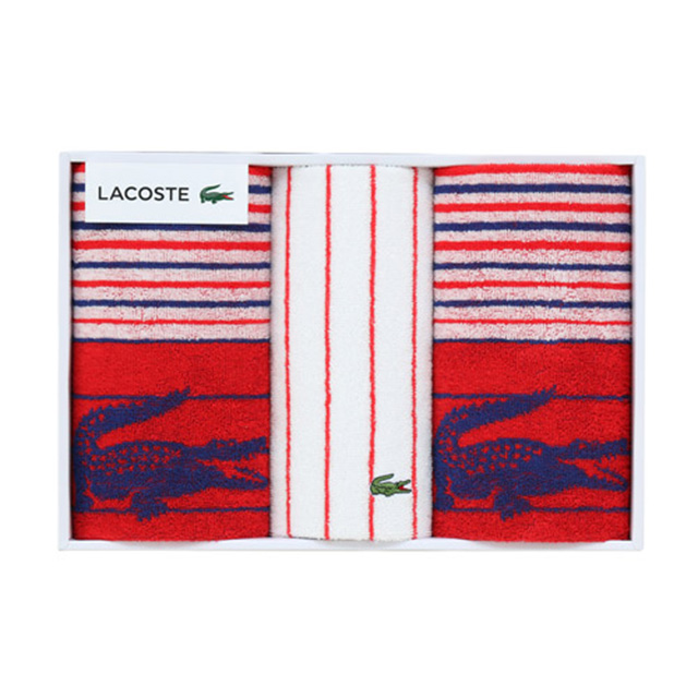 LACOSTE タオル3枚セット レッド