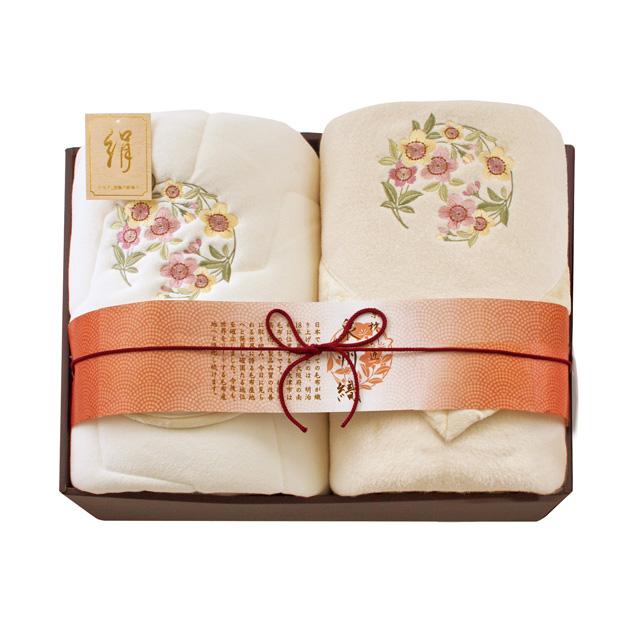 素材の匠 泉州織 四方額シルク混綿毛布(毛羽部分)&シルク混敷パッドセット