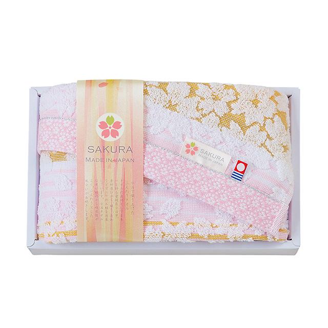 しまなみ 匠の彩 白桜 フェイスタオル ピンク メイン画像