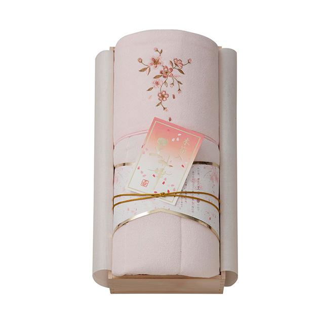 王華 木箱入りさくら刺繍 肌ふとん ピンク