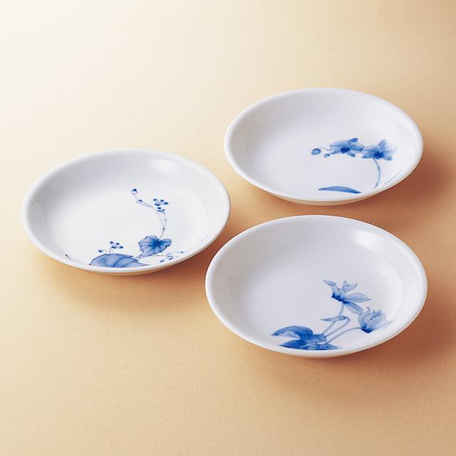 香蘭社 染付三花パスタ皿3枚セット