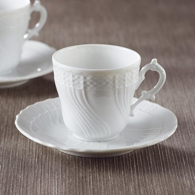ベッキオジノリホワイト ペアコーヒーカップ&ソーサー メイン画像