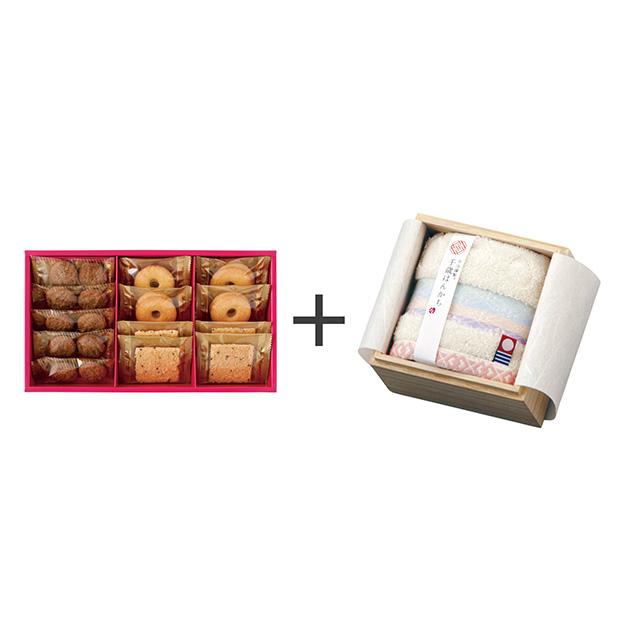 ラミ・デュ・ヴァン・エノ 焼菓子3種詰合せ+今治謹製 千歳はんかち アイボリー メイン画像