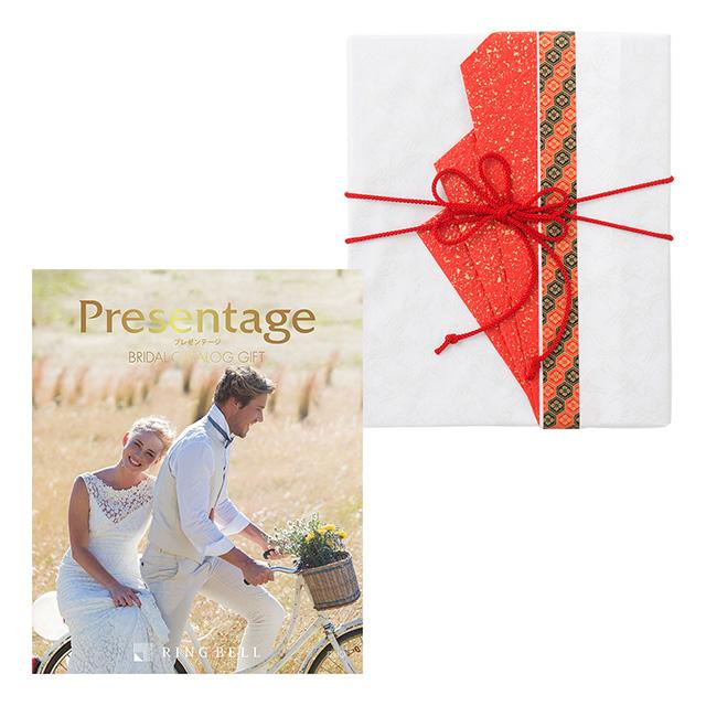 カタログ式ギフト プレゼンテージブライダル デュオ+有料ラッピング(赤色の扇と飾紐)