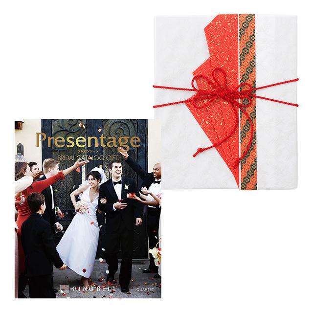 カタログ式ギフト プレゼンテージブライダル カルテット+有料ラッピング(赤色の扇と飾紐) メイン画像